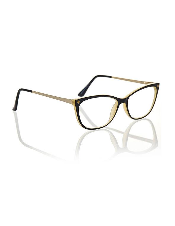 Taupe Cat Eye Reader, Taupe/Black, hi-res
