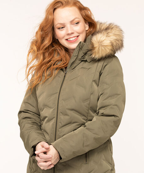 Feather Down Puffer Coat, Olive, hi-res