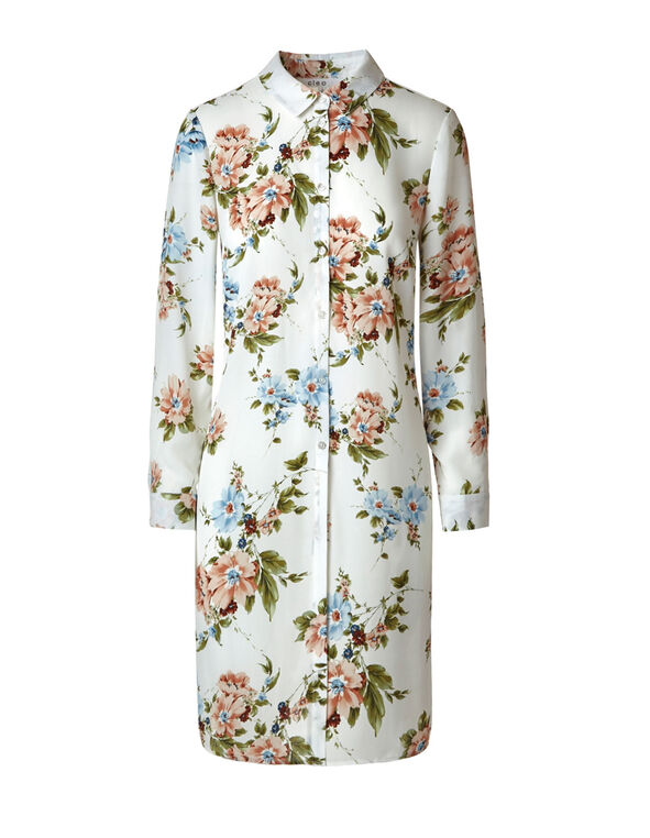 Ivory Floral Long Tunic Blouse, Ivory, hi-res