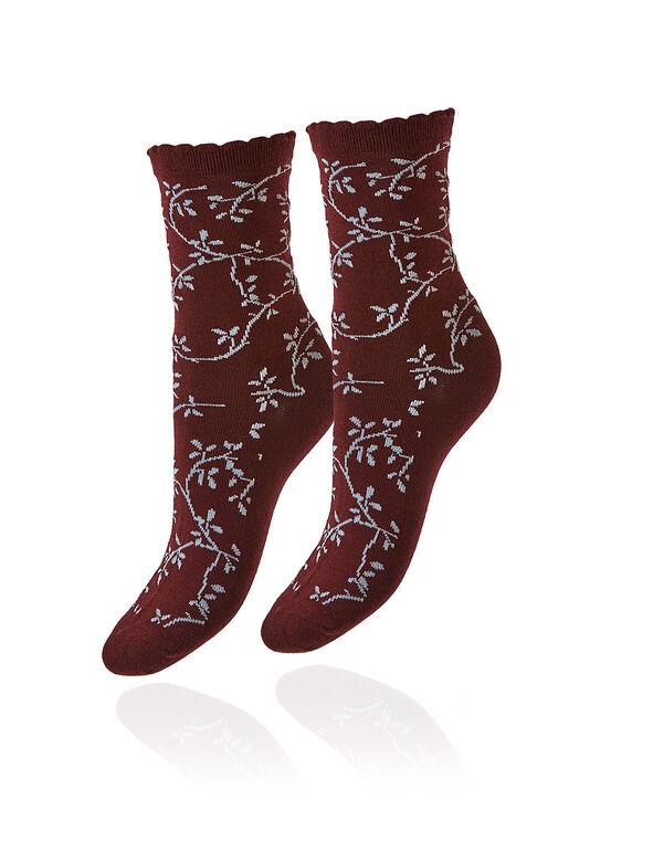 Merlot Floral Crew Sock, Merlot, hi-res