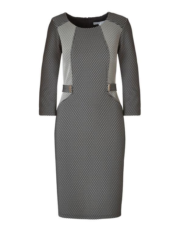 Black Dotted Sheath Dress, Black/Ivory, hi-res