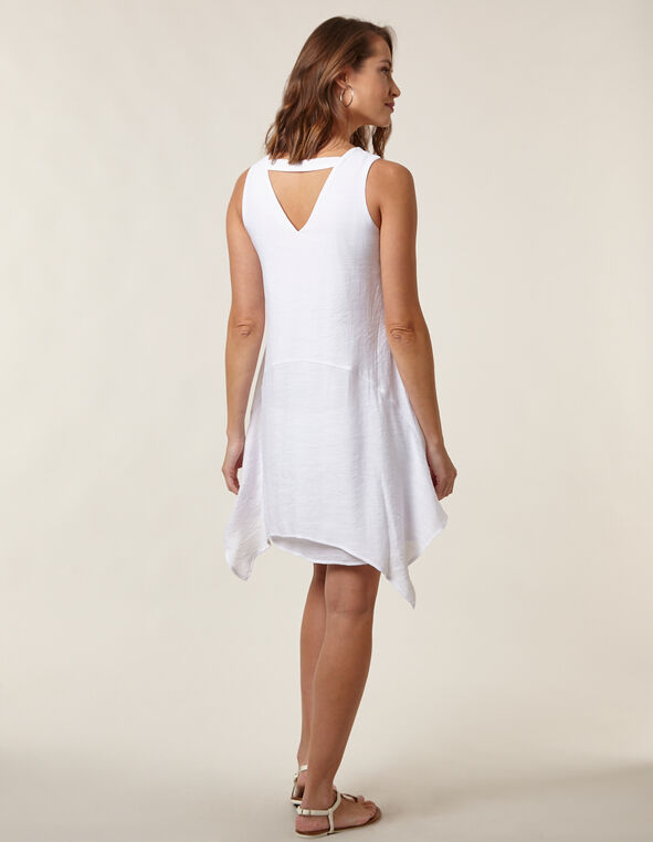 White Gauze Sharkbite Hem Dress, White, hi-res