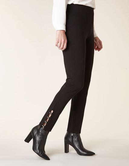 Black Rhinestone Detail Legging, Black, hi-res