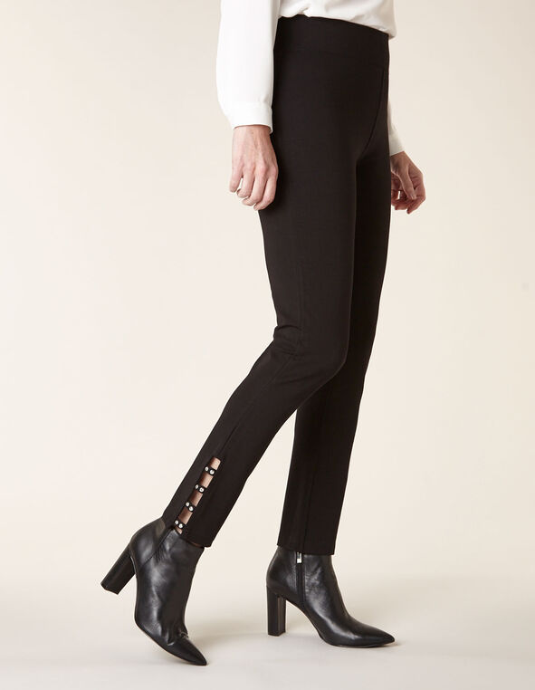 Black Rhinestone Detail Legging, Black, hi-res