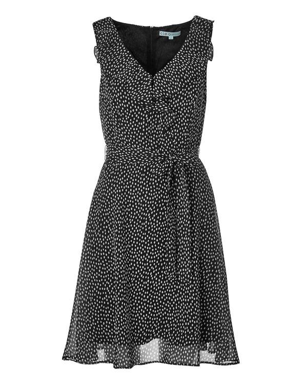 Black Belted Ruffle Dress, White/Black, hi-res