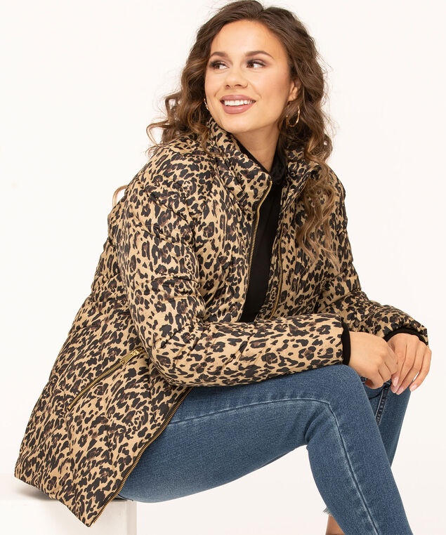 Printed Faux Down Puffer Jacket, Camel/Black