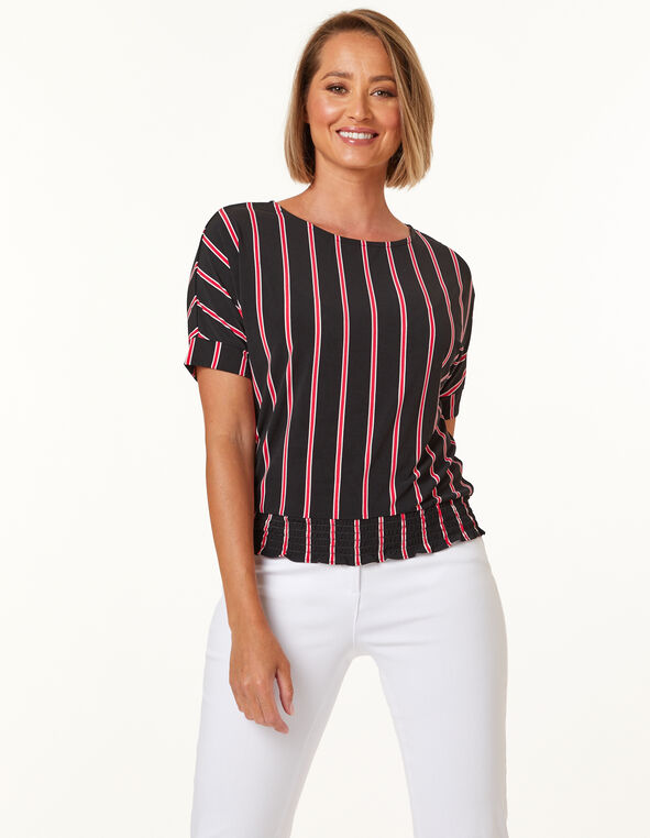 Striped Pink & Black Top, Black/Pink, hi-res