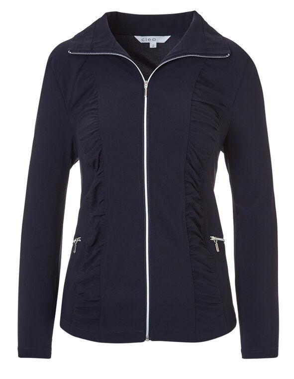 Navy Soft Ruched Jacket, Navy, hi-res