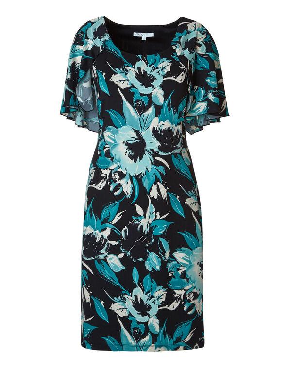 Black Floral Cape Shift Dress, Teal/Black, hi-res