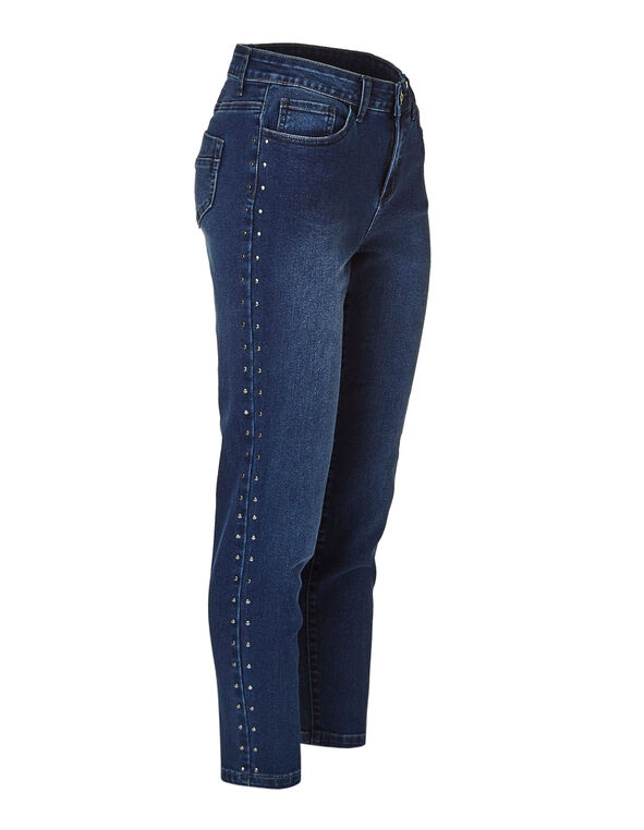 Dark Wash Studded Ankle Jean, Dark Wash, hi-res
