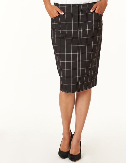 Black Plaid Pencil Skirt, Plaid, hi-res