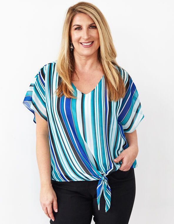 Turquoise Tie Front Chiffon Blouse, Turquoise, hi-res