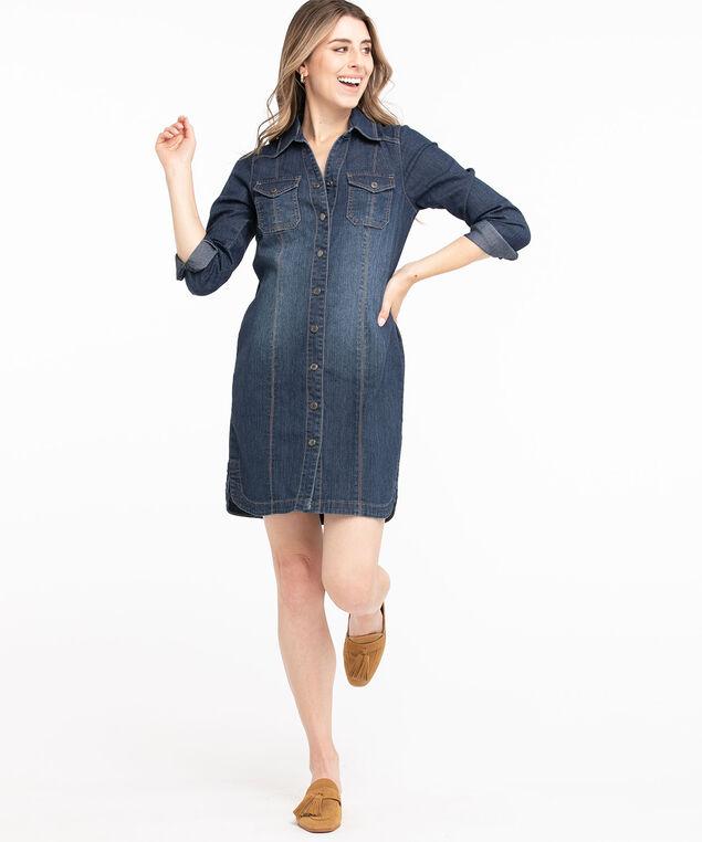 Denim Button Front Shirt Dress, Dark Wash