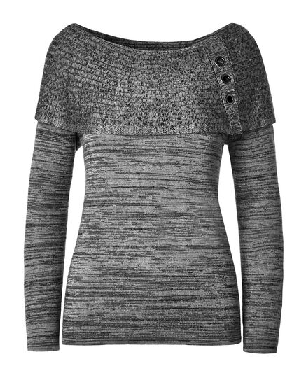 Grey Marilyn Grommet Sweater, Black, hi-res