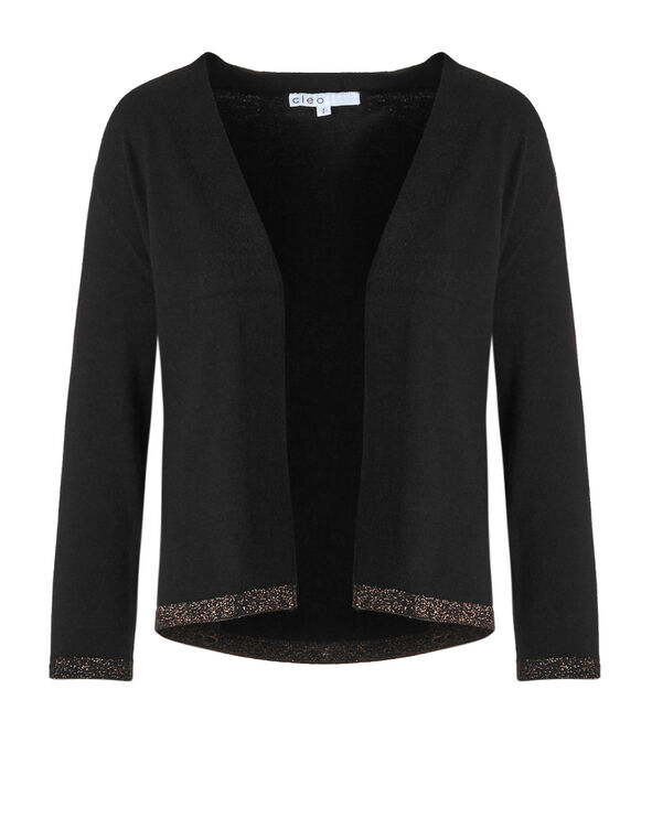 Black Lurex Hem Cardigan, Black, hi-res