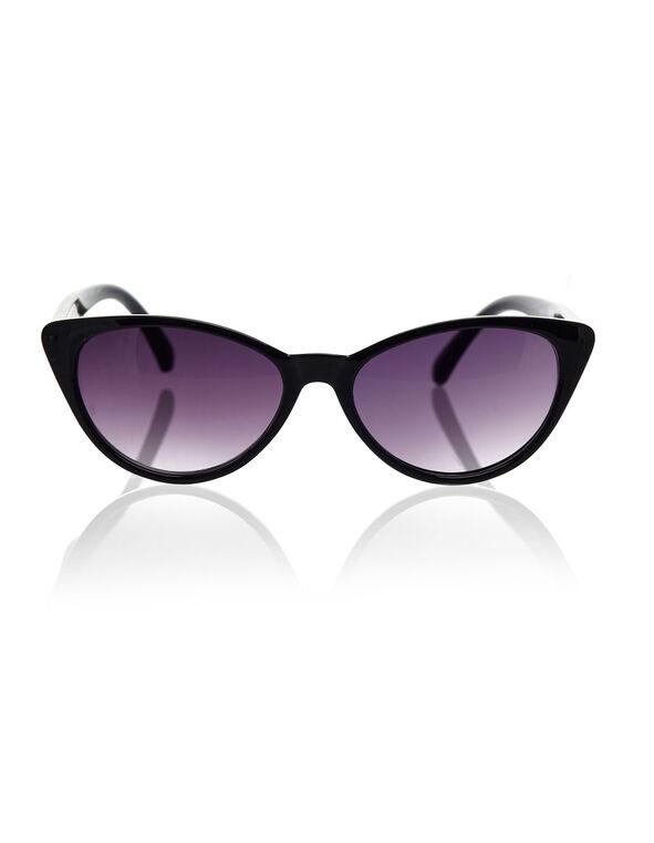 Black Cat Eye Sunglasses, Black, hi-res