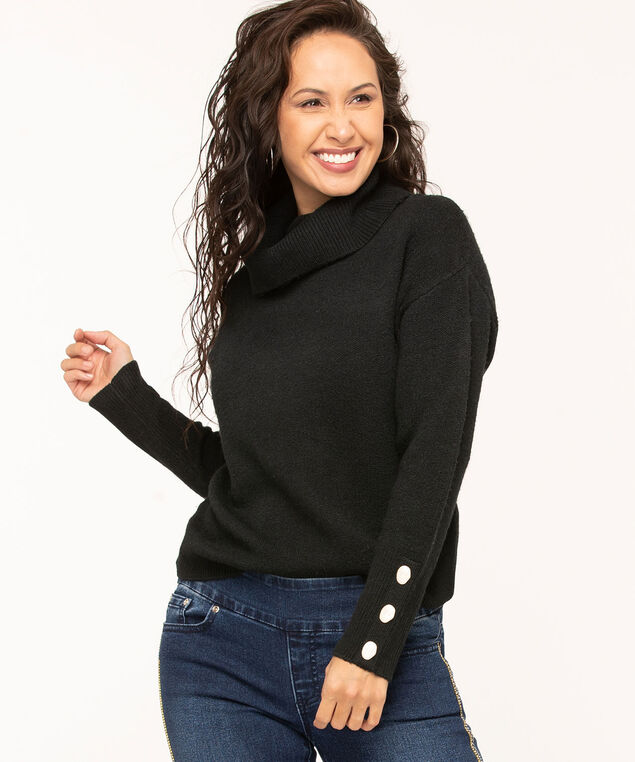 Black Button Cuff Turtleneck Sweater, Black, hi-res
