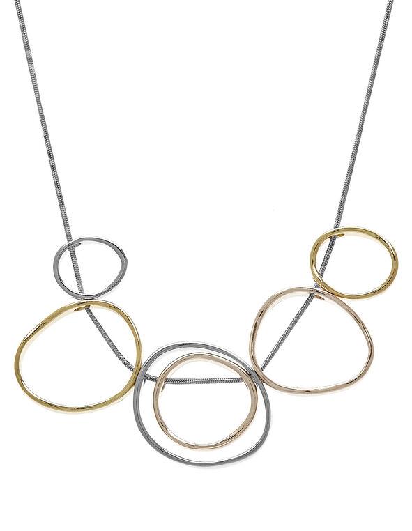 Gold & Silver Circular Short Necklace, Gold/Silver, hi-res