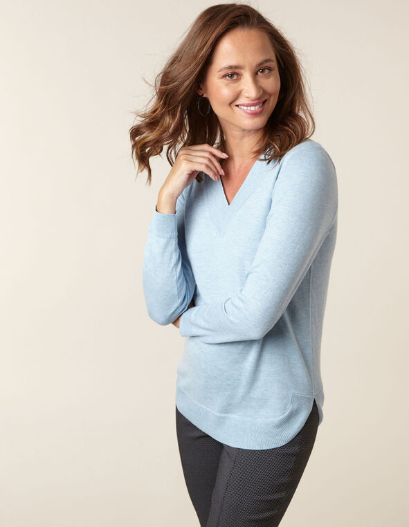 Blue Recycled Fabric Sweater, Blue, hi-res