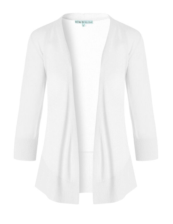 White Waterfall Cardigan, White, hi-res