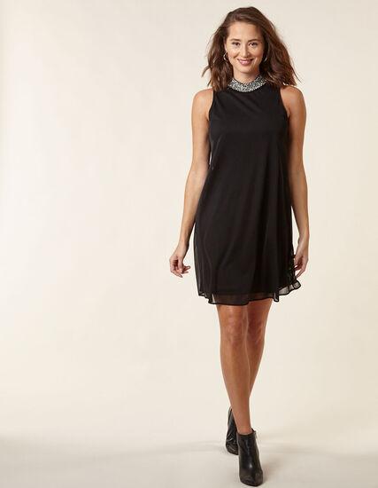 Black Knit Mesh A-Line Dress, Black, hi-res