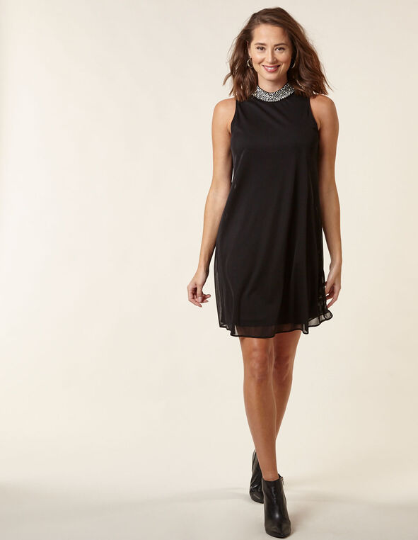 Black Knit Mesh A-Line Dress, Black, hi-res