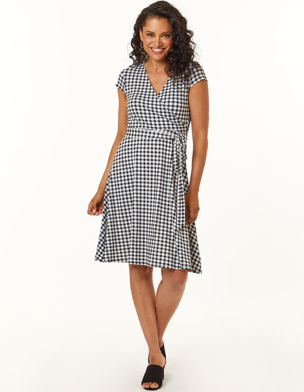 Gingham Fit and Flare Dress, Black, hi-res