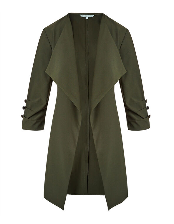 Olive Ruched Sleeve Draped Blazer, Olive, hi-res