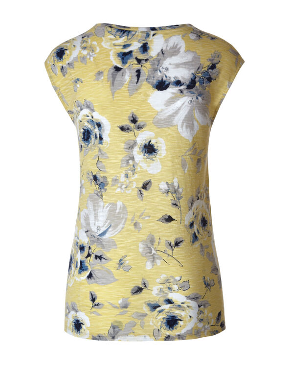 Butter Floral Cap Sleeve Slub Tee, Butter, hi-res