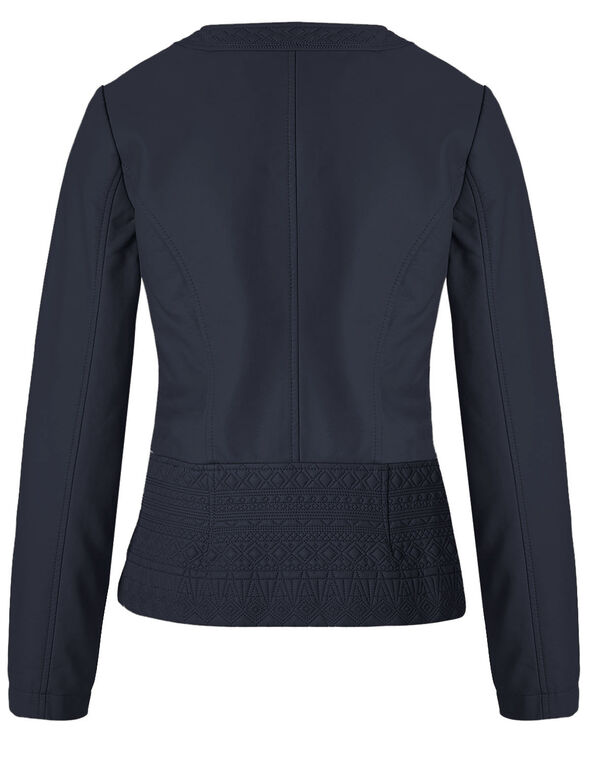 Navy Diamond Stitch Faux Leather Jacket, Navy, hi-res