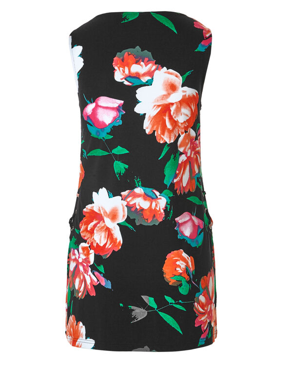 Black Floral Lace Up Tunic, Black Floral, hi-res