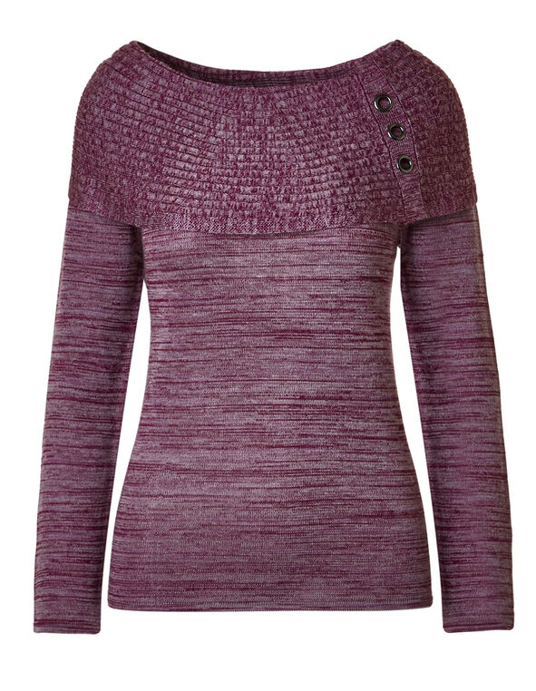 Mauve Marilyn Grommet Sweater, Mauve, hi-res