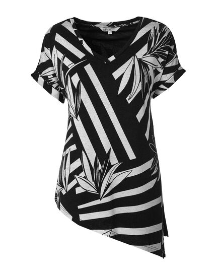 Black & White Printed Hacchi Top, Black/White, hi-res