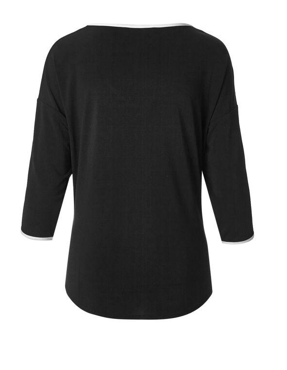 Black Open Sleeve Tie Top, Black/White, hi-res