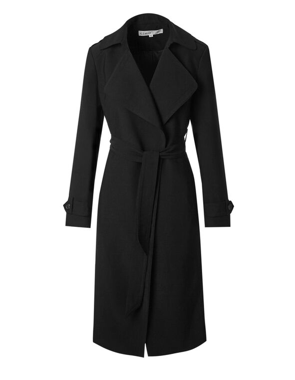 Black Long Soft Belted Trench Coat, Black, hi-res
