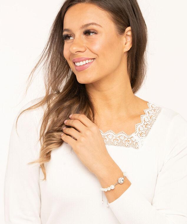 Pearl & Crystal Adjustable Bracelet, Silver/Pearl