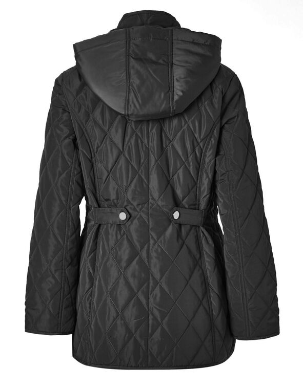 Black Polyfill Quilted Jacket, Black, hi-res