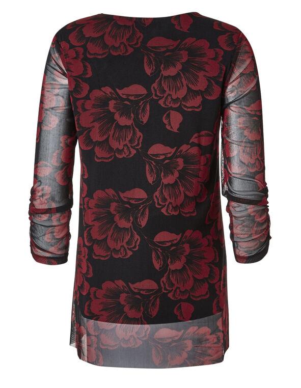 Red Floral Mesh Overlay Top, Red/Black, hi-res