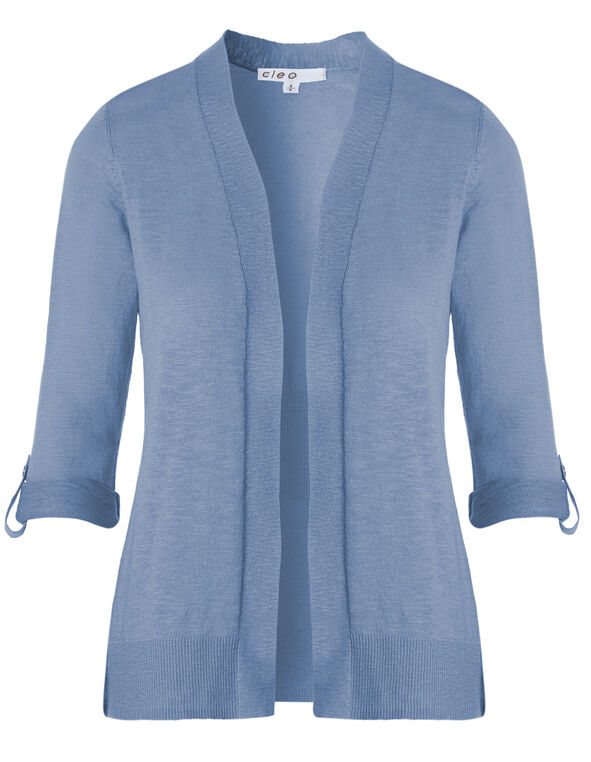 Chambray Slub Roll Sleeve Cardigan, Chambray, hi-res