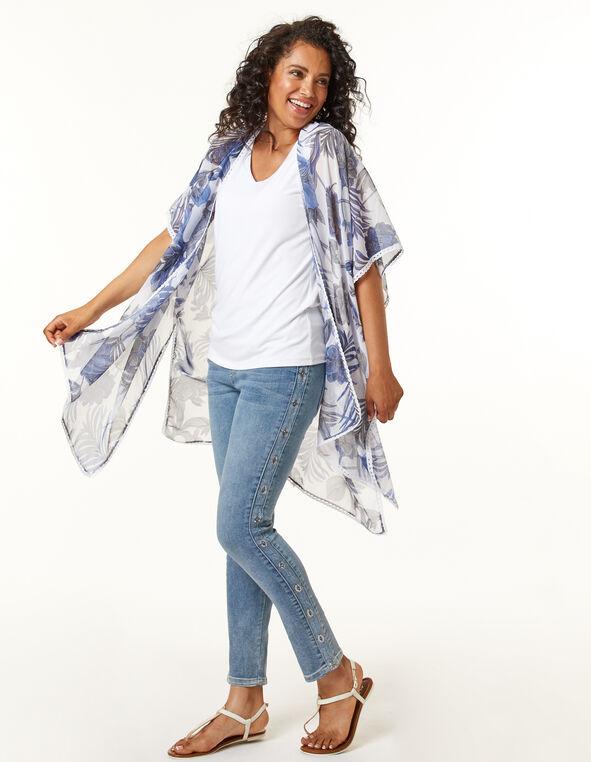 Blue Floral Kimono, Blue, hi-res