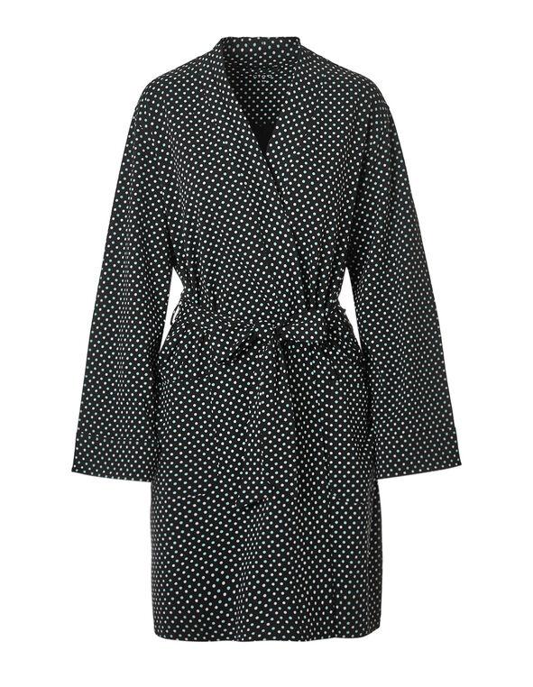 Black Polka Dot Jersey Robe, Black, hi-res