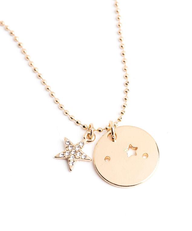Gold Zodiac Disc Pendant Necklace, Aries