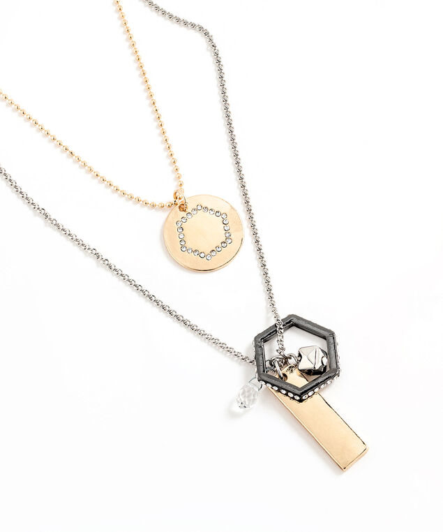 Convertible Layered Pendant Necklace, Silver/Gold/Hematite