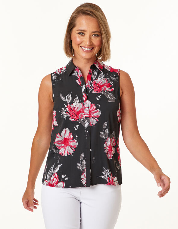 Pink Floral Collared Button Blouse, Black/Pink, hi-res
