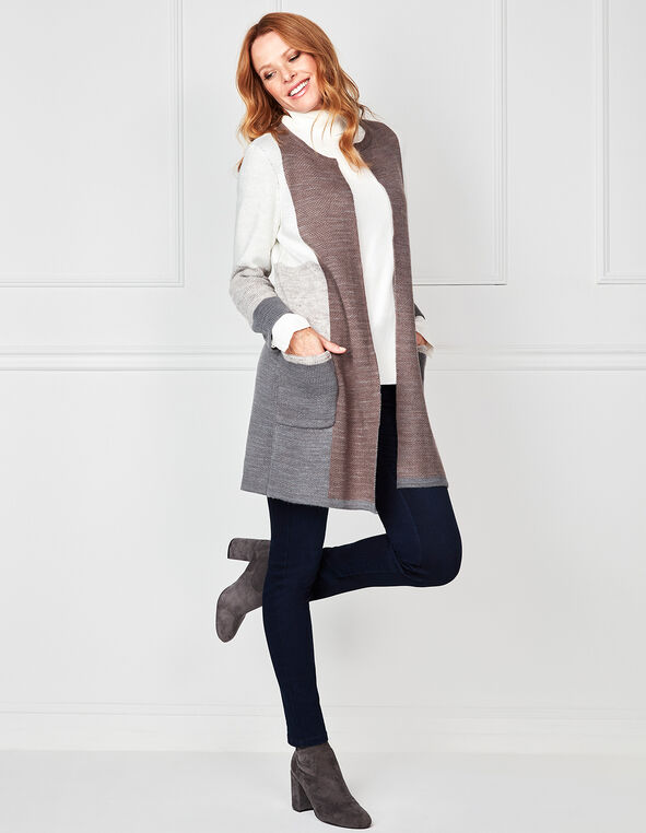 Colour Block Open Style Cardigan , Neutral, hi-res