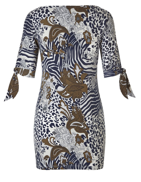 Navy Printed Tie Sleeve Tunic, Navy/Neutral/Brown, hi-res