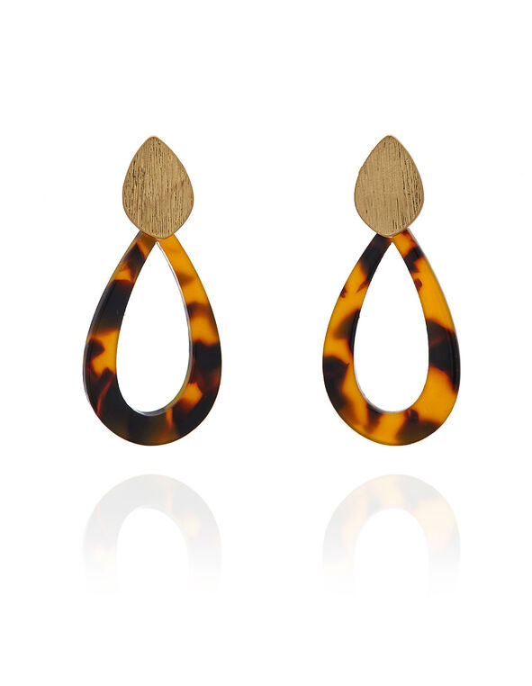 Tortoise Teardrop Earring, Brown, hi-res