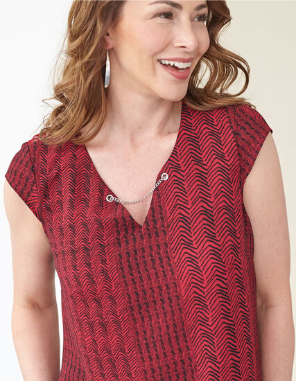 Red Back Lace Detail Blouse , Red, hi-res