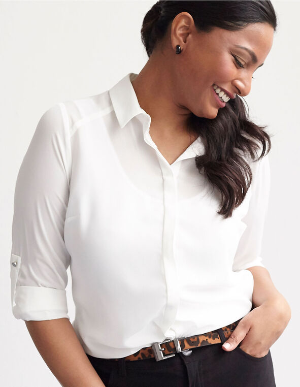 Classic Ivory Button Down Blouse, Ivory, hi-res