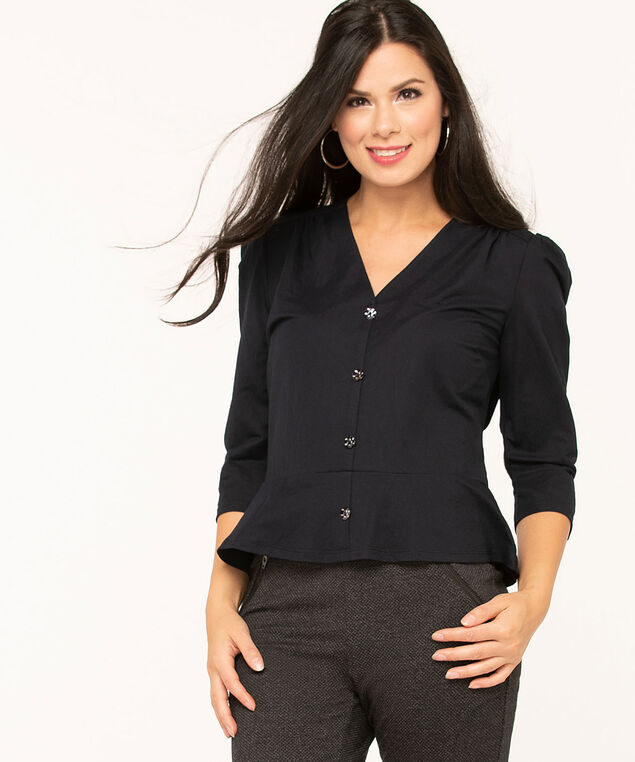 Navy Popover Peplum Top, Navy